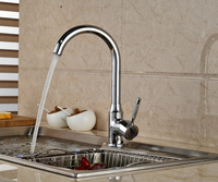 Brand NEW Chrome Brass Kitchen Faucet Swivel Spout Vessel Sink Mixer Tap Deck Mounted Hot And