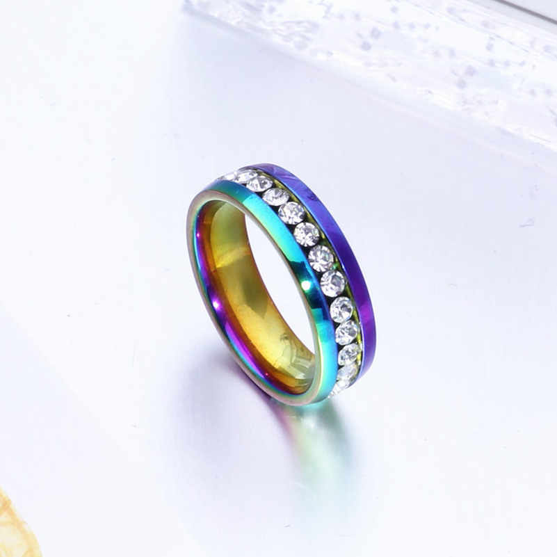 Classic Men Women Rainbow Colorful Crystal Ring Titanium Steel Wedding Band Ring Width 8mm Size 5-13
