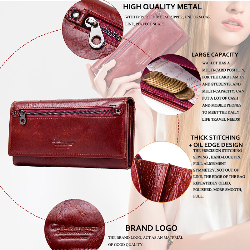 Image 4 - Contacts New Genuine Leather Women Clutch Wallets Multiple Cards  Holder Long Female Purse With Phone Bag Fashion Woman Walletfemale  pursefashion pursepurse fashion