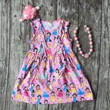 Nouveau bébé filles vêtements enfants portent d'été rose princesse ruches imprimer robe coton assorti accessoires boutique sans manches