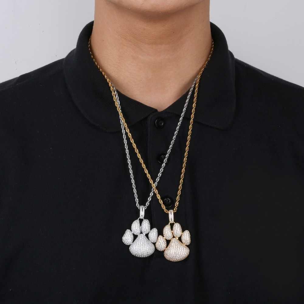 TOPGRILLZ Iced Out śliczne zwierzęta psy ślady łapa łańcuch wisiorek naszyjnik naszyjniki i wisiorki mężczyźni kobiety Hip Hop biżuteria prezenty