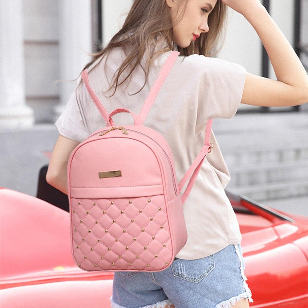 HTB1131SLQvoK1RjSZFwq6AiCFXaW OCARDIAN Woman packet Fashion Causal Bags Bead Female Shoulder Bag Backpacks Women Rivet Backpack dropship 19M12