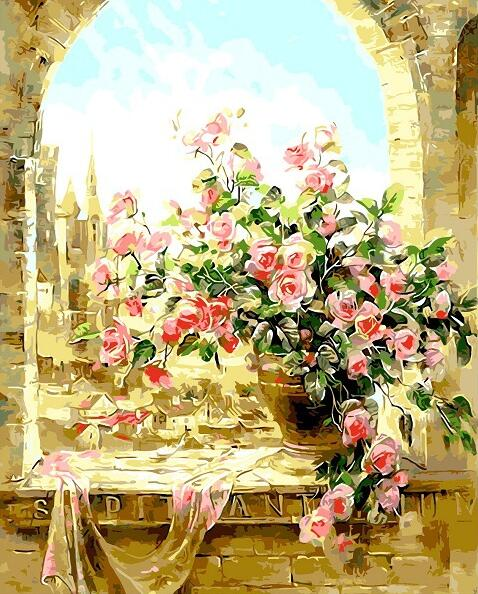 Flowers Romantic Rose DIY Painting By Numbers Modern Wall Art Canvas ...