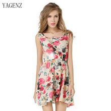 Fashion Women Floral Dress Dress Sleeveless Round Neck Florals Print Pleated Vintage Dress 2 Styles Female Summer Clothing A054