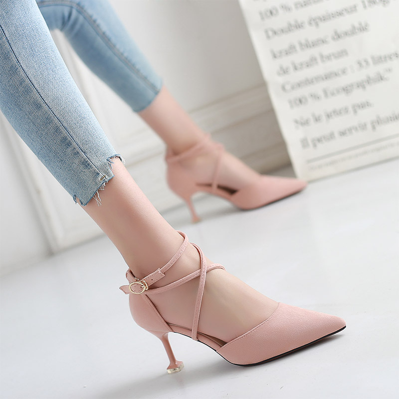 Suede 2019 summer new single shoes women's fashion solid color low to help women's shoes pointed high heel sandals(China)