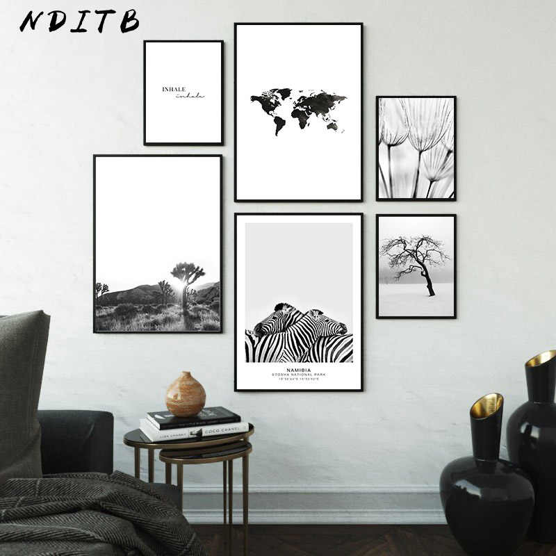 Nordic Decoration Picture Scandinavian Poster Black Tree Landscape White Wall Art Canvas Print Painting Modern Home Decoration