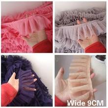 9CM Wide Double Layers Mesh Fabric Lace Exquisite Pleated 3D Applique Ribbon Edge Trim Curtains Women Skirts Splice Sewing Decor