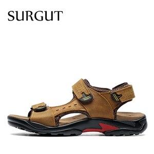 Image 2 - SURGUT Brand Men Summer Fashion Sandals Beach Shoes Genuine Leather Comfortable Casual Shoes Men Roman Style Big Size 38 48