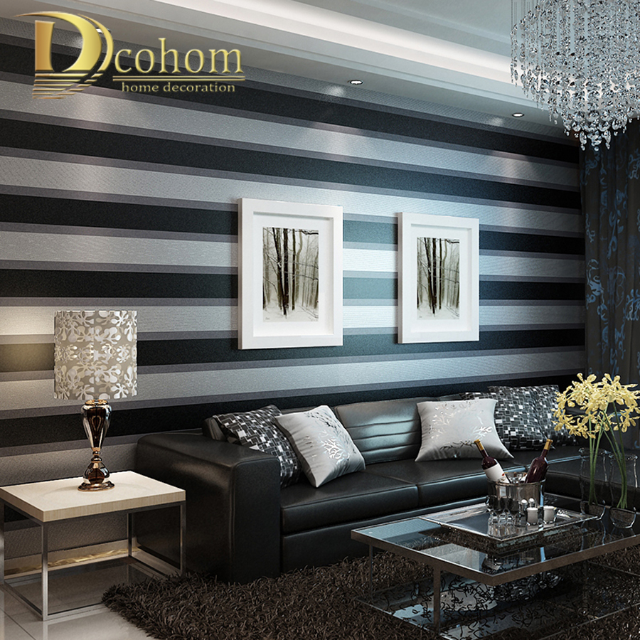 Fashion luxury striped wallpaper living room beroom walls Grey wallpaper living room