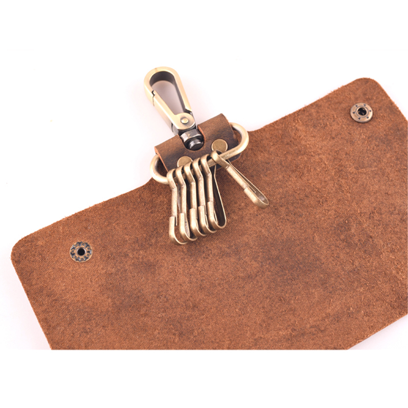 High Quality Genuine Leather Key Wallet Men Holder Luxury Brand Crazy Horse Mini Purse PORTFOLIO MAN Male Walet Perse Clutch Bag