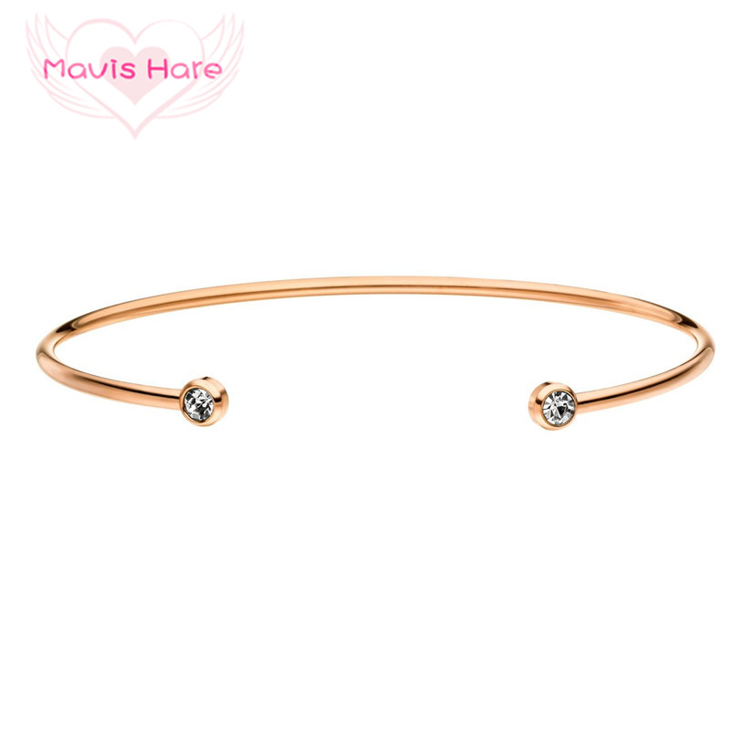 Mavis Hare Rhinestone Crystal Cuff Bangle Stainless Steel Bracelet with silver/gold/rose gold color Can be twisted bangle