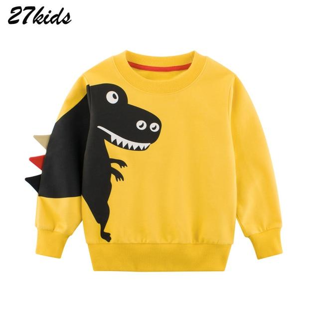 27kids kids Cartoon Print Baby Boys Dinosaur Hoodies Sweatshirts For Spring Infant Kids Boys T-Shirts Clothes Cotton Clothes 1
