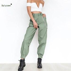 Image 2 - 여성 streetwear 하이 웨스트 솔리드 메탈 체인 슬링 카고 바지 하라주쿠 블랙 화이트 카키 옐로우 그린 바지 롱 조거 2xl