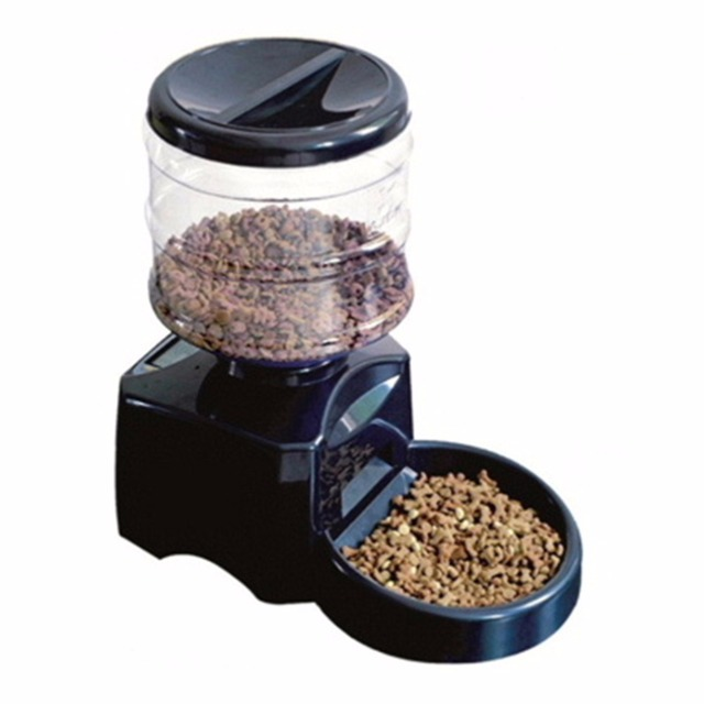 Plastic 5.5L Automatic Pet Feeder with Voice Message Recording and LCD Screen Large Smart Dogs Cats Food Bowl Dispenser 2 colors