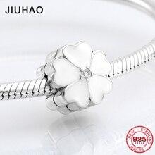 Аутентичные 925 пробы Серебряный Белый Первоцвет зажимы Замок бусины подходят Pandora талисманы браслет для женщин ювелирных изделий