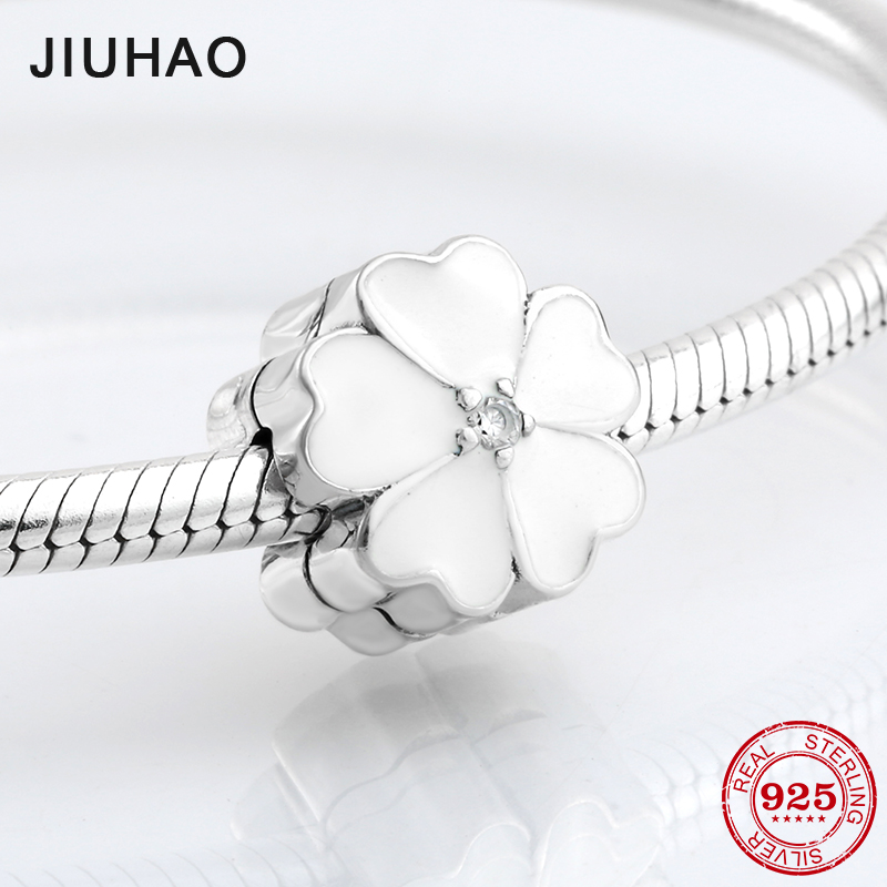 Authentic 925 Sterling Silver White primrose Clips lock beads Fit Original Pandora Charms Bracelet Women Jewelry making