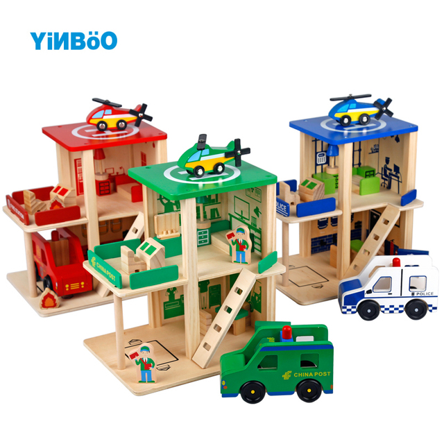 Wooden Toys Baby Toy For Kids Children Role Play Educational Diy Police Station Fire Post