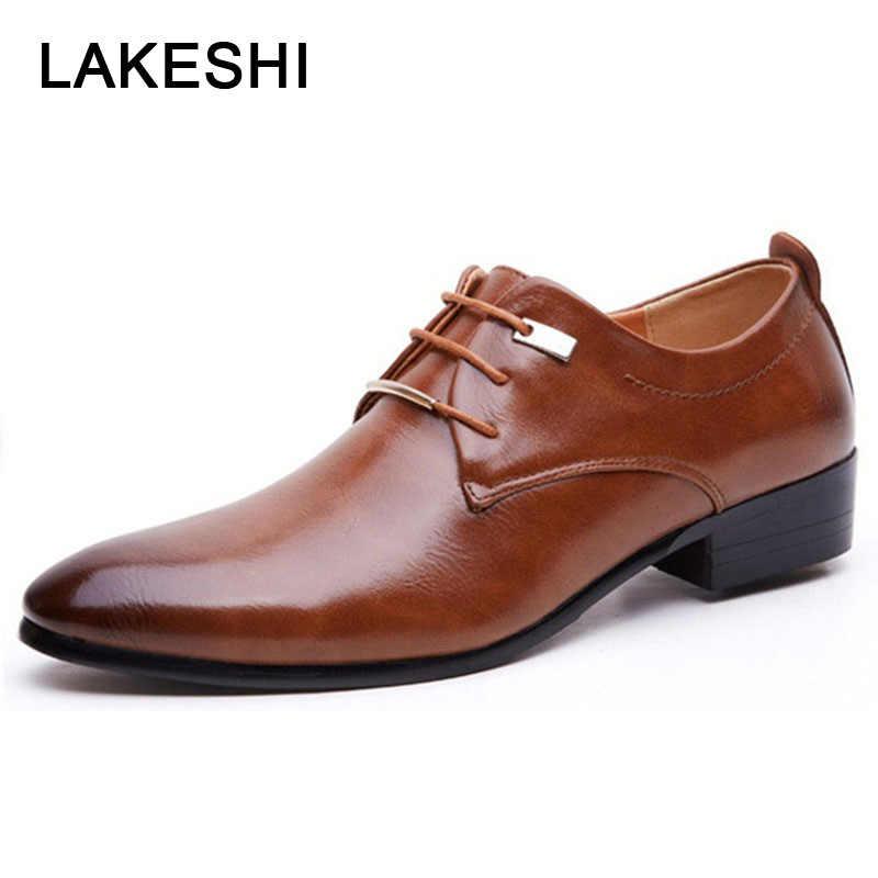 0aa2e4516 Мужская кожаная обувь, новые броги, мужские оксфорды, мужская повседневная  обувь на плоской подошве