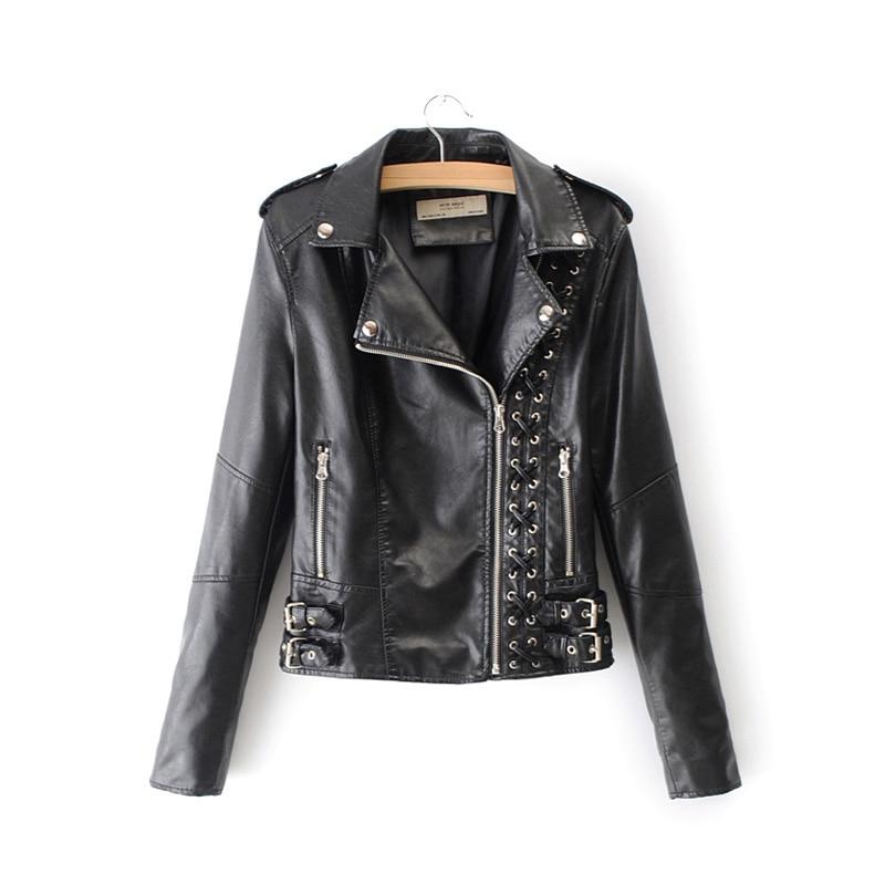 Winter lace up pu   leather   jacket women black zipper motocycle biker jacket antumn Streetwear punk rock coat chaqueta mujer