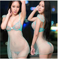 Free shipping Strip lace  gauze condole belt nightgown Ms. Sexy  temptation Ultra-thin  suit