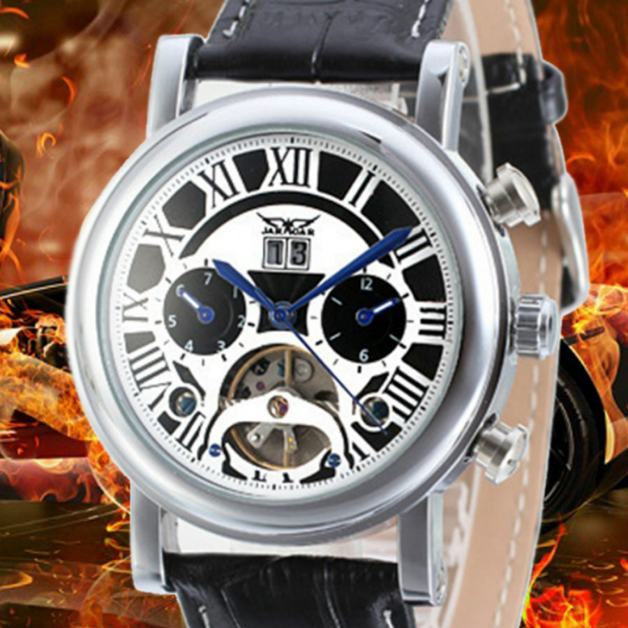 Jaragar Automatic Mechanical Tourbillion Classic Date Day Black Leather Men Sport Military Watches self-wind watch men luxury