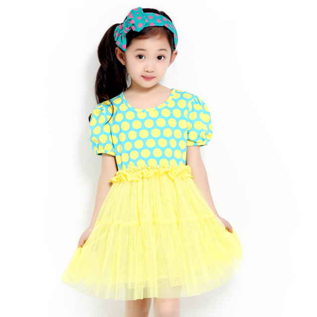 2013 female child skirt one-piece dress polka dot dresses