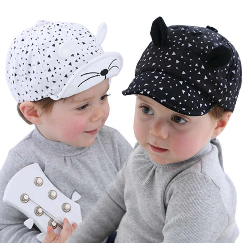 7794c9d0 DE MODA DE COREA chico gorra de béisbol de algodón lindo gato sombrero  recién nacido bebé