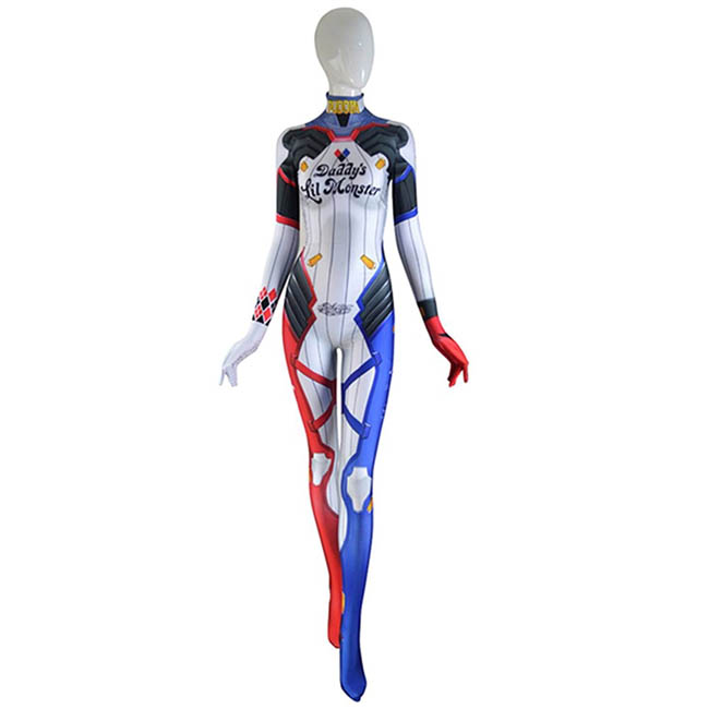 Harley D.VA Wonder Woman Cosplay Costume D.Va Mixed Harley Skin Cosplay Suit Spandex Print Game Cosplay Costume Tight Suit