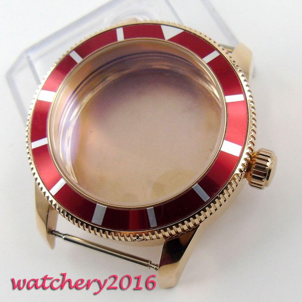 46mm Bliger red alloy Rotating bezel golden plated Watch Case fit ETA 8215 2836 Movement mens Watch46mm Bliger red alloy Rotating bezel golden plated Watch Case fit ETA 8215 2836 Movement mens Watch