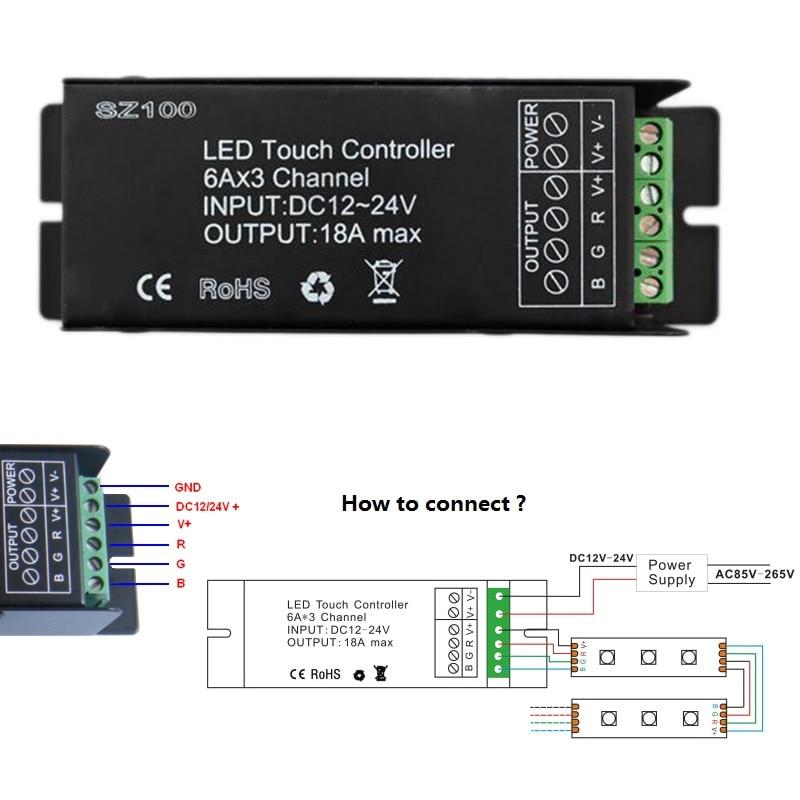 LED Controller 12V 24V 3 Channel 18A RF անլար հպման - Լուսավորության պարագաներ - Լուսանկար 4