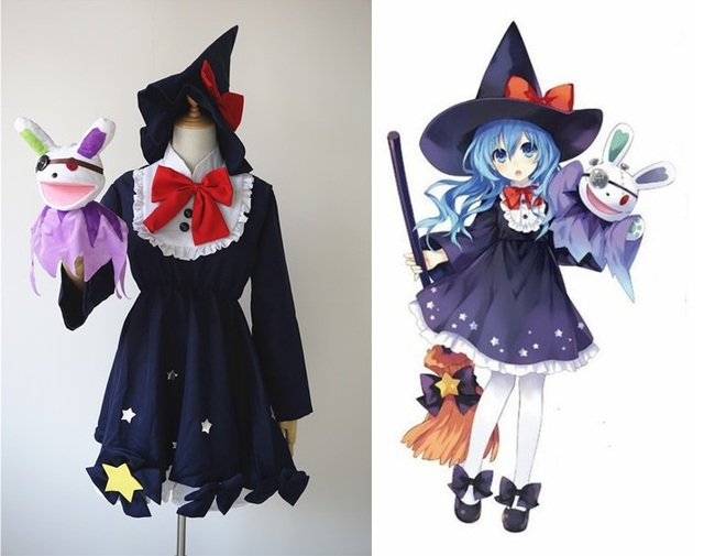 anime date a live yoshino cosplay witch dress plush toy halloween