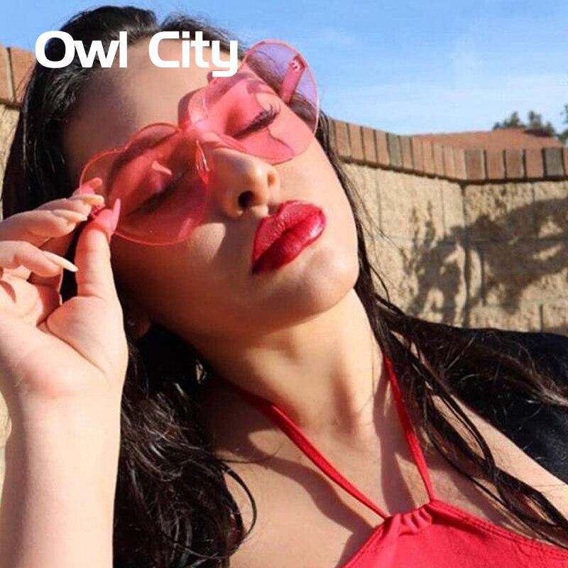 Heart Sunglasses Women Vintage Ladies Pink Sunglass 2018 New Brand Designer Transparent Glasses Party Eyewear