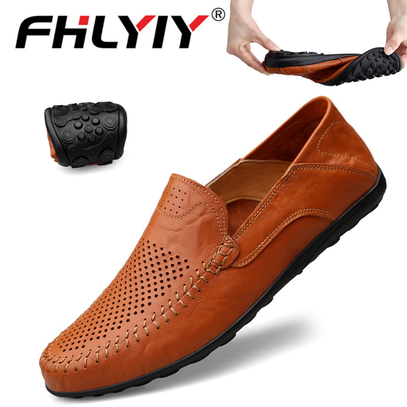 2019 Genuine Leather Mens Loafers Moccasins Autumn Men Shoes Casual Luxury Brand Breathable Slip On Boat Shoes