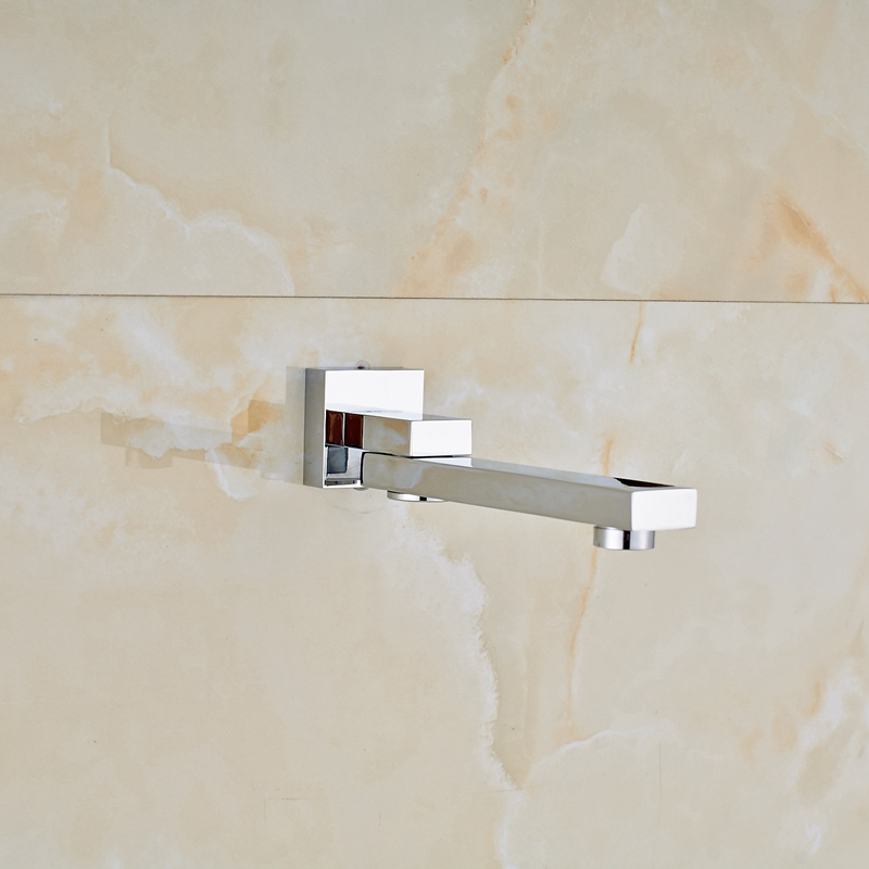 Uythner Chrome Polish Wall Mounted Waterfall Spout Pool Bathroom Tub Faucet Solid Brass