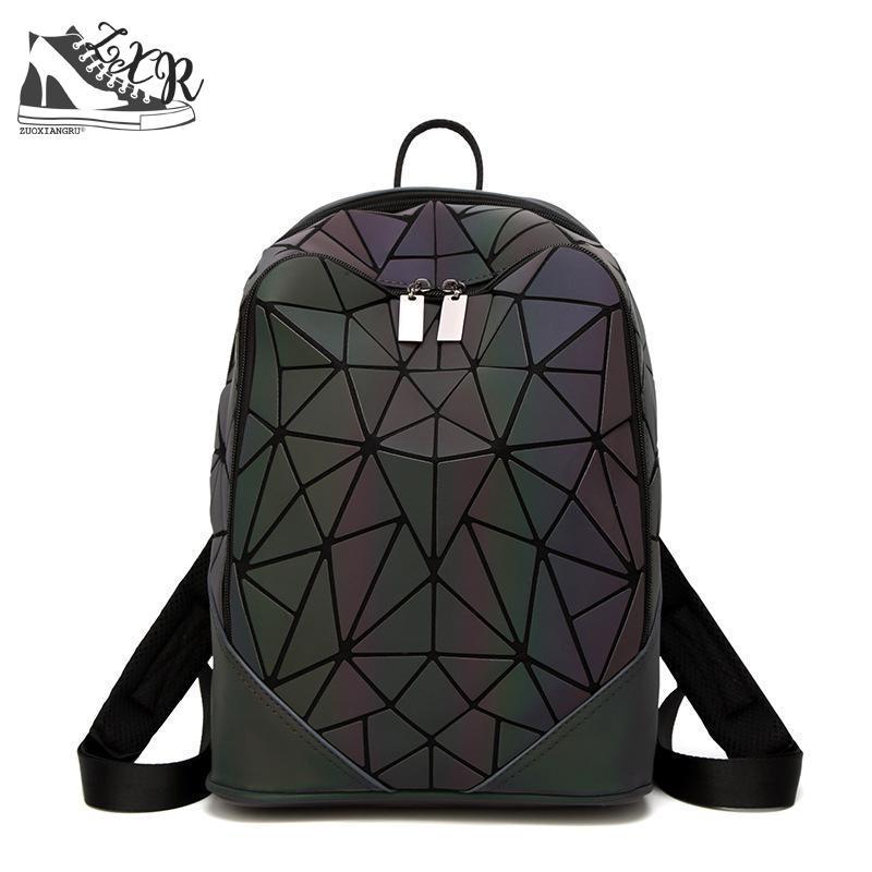 Zuoxiangru New Luminous Irregular Triangle Sequin Backpack For Men And Women Fashionable Rucksack Female Backpack Korean stylish black irregular triangle pattern voile bib scarf for women