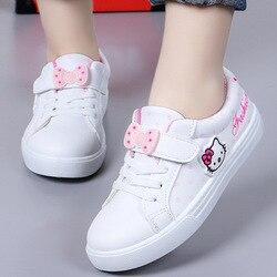 Nowa gorąca dziewczyna obuwie Cartoon Hello Kitty Fashion Design księżniczka słodkie słodkie dzieci dzieci pojedyncze buty rozmiar 26 36 w Trampki od Matka i dzieci na