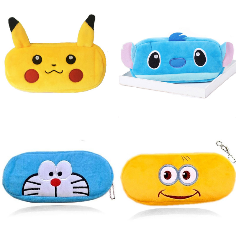 Cute Cartoon Pencil Case For Girls Boys Pokemon Plush Pencil Box School Large Capacity Pencilcase Bts Stationery Kawaii