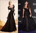2016 Luxury Gorgeous Beaded A-Line Celebrity Dresses Sheer Bateau Short Sleeve Applique Evening Dress Red Carpet Dresses 1460
