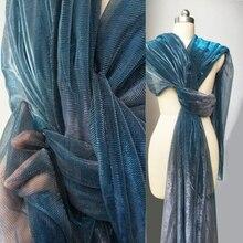 BLue Gradient Candy Hollowing nylon Eugene mesh Yarn polyester fabric Laser Dress diy textiles ankara sewing tulle C203
