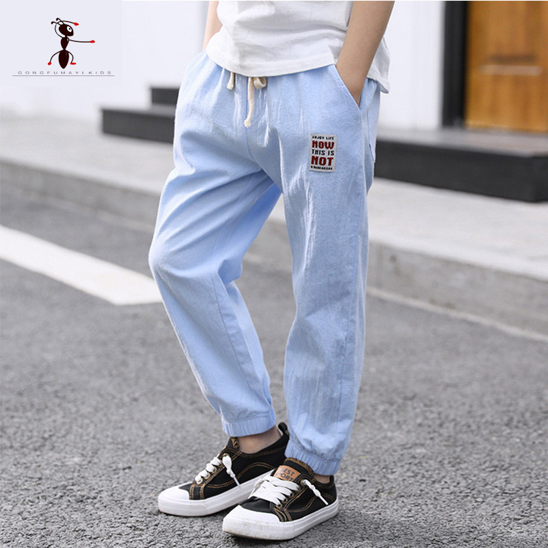 Kung Fu Ant 2018 black blue gray Straight full-length pants new summer loose spring boy cotton size 4T-12T 3066 afs jeep new style man s loose mid waist jeans younger mans cotton made summer autumn 2017 full length denim trousers big size