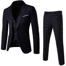 De lujo de los hombres traje de boda traje de hombre chaquetas y americanas Slim  trajes para hombres 3-pieza traje chaqueta boda. c5a6a7f768b
