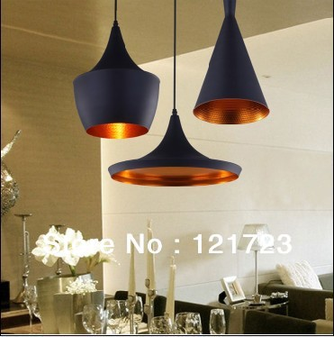 Single Head Tom Nobility Metal Musical Instrument Restaurant Bedroom Aisle Pendant  Lights Bar Copper Pendant Light Black Dia26