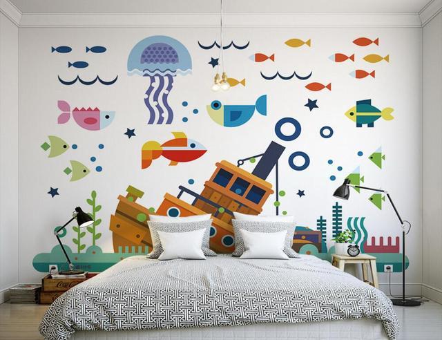 Kustom A Mediterania Kartun Bawah Laut Dunia Mural Papel De Parede Ruang Tamu Sofa