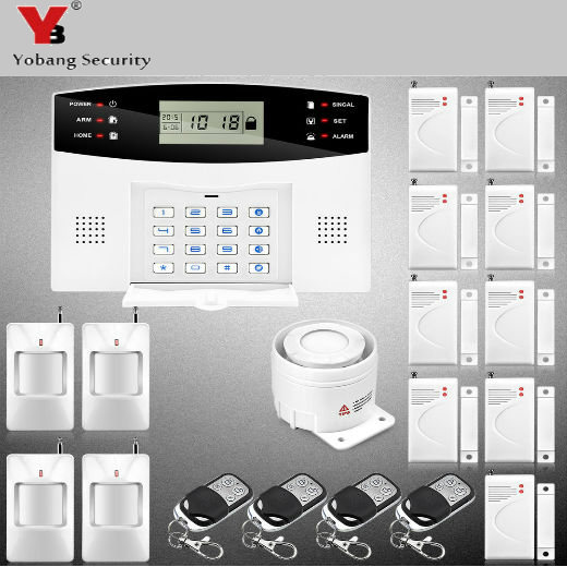 YobangSecurity Russian Spanish Cezch Italian Voice Home Wireless GSM Security System Wireless Door Window PIR Sensor yobangsecurity english spanish russian voice 4 wire 100 wireless defense zones gsm pstn home alarm system door window sensor kit