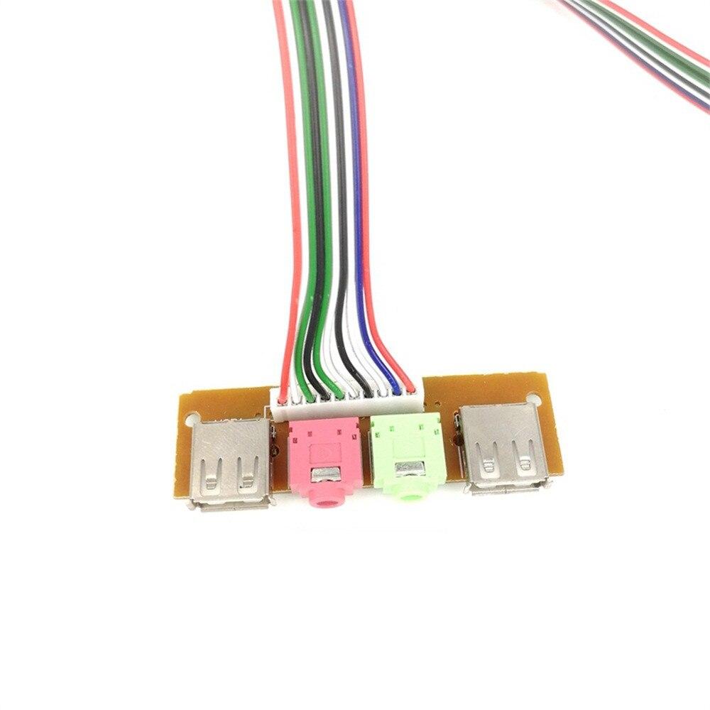 Haute Qualité USB PC coque d'ordinateur Panneau Avant Port USB Audio Mic Câble des Écouteurs Gadget 1 pièces