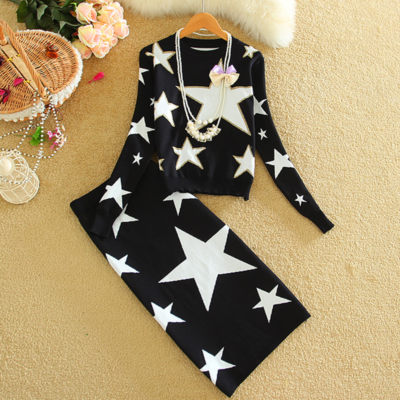 Women Winter Knitted Tracksuit Knitting Sweaters Sets Autumn 2018 Stars Fashion Ladies New 2 Piece Set Bodycon Skirt And Top