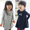 Бесплатная доставка, весна осень детская одежда, с длинным рукавом Девушки Одежда, Корейский, baby dress, черри базы одеваться очень скромно, Детской одежды