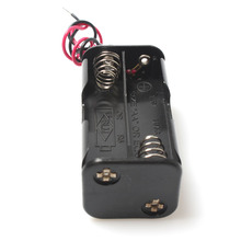 Wholesale 100PCS/lot Lightweight 2 slot 4 x AA Battery Back To Back Holder Case With Wire Leads