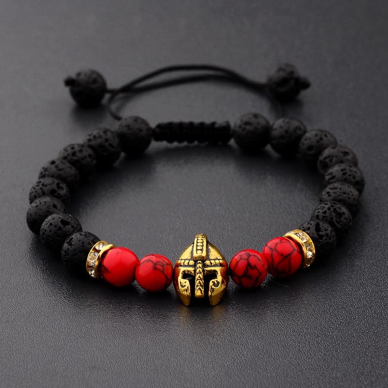 DOUVEI Drop Shipping Roman Knight Spartan Warrior Gladiator Helmet Bracelet Men Stone Bead Bracelet Mala Yoga Elastic Bracelet