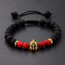 DOUVEI Drop Shipping Roman Knight Spartan Warrior Gladiator Helmet Bracelet Men Stone Bead Mala Yoga Elastic